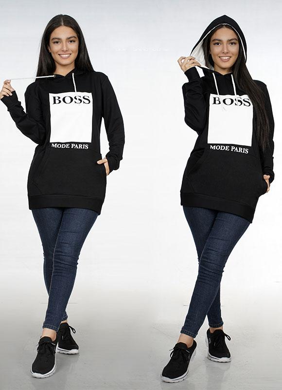 سویشرت کلاه دار طرح BOOS کد ۱۳۱۴